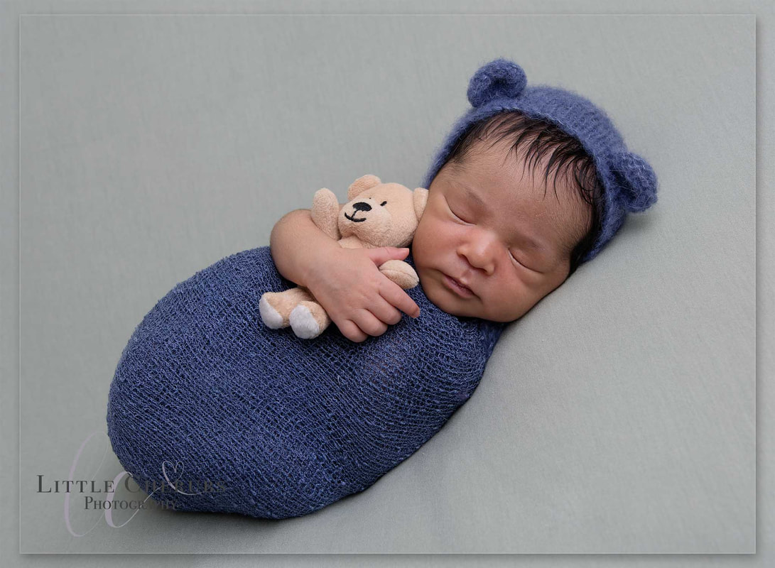 newborn baby sleeping with teddy peterborough cambridge photographer