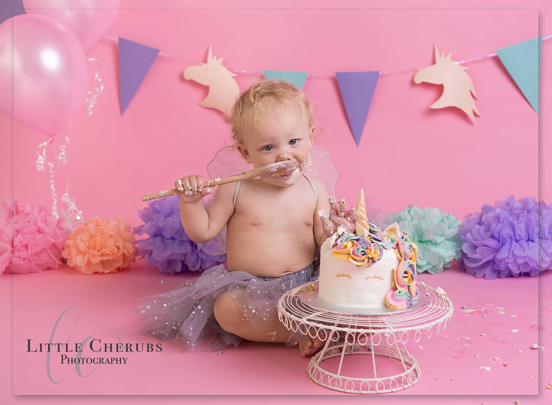 pink unicorn Cake smash photography march cambridge peterborough near ely