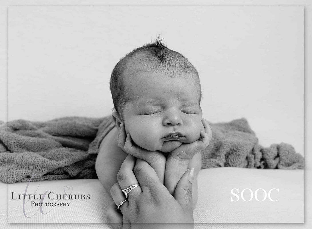 black and white sooc picture of newborn baby in froggy pose composite cambridge professional newborn photographer little cherubs
